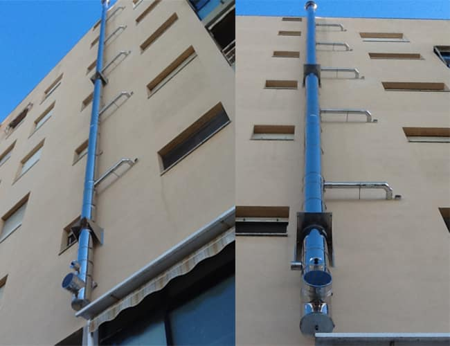 Isoair flue pipe installation in Livorno